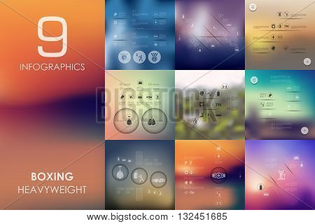 boxing vector infographics with unfocused blurred background