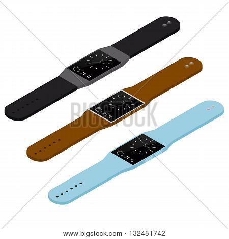 Isometric smart watch. Wireless technology of the future. Time and weather on the screen of the smartwatch. Modern fancy gadget. Stylish watch. Vector illustration.