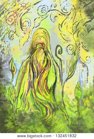 Digital painting. Modern Art. Woman goddess, strength and loving guardian of the forest spirit.