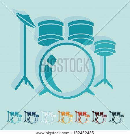 It is a illustration Flat design: drum set