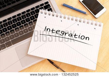 Integration - handwritten text in a notebook on a desk - 3d render illustration.