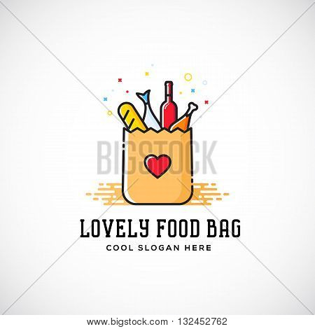 Lovely Food Paper Bag with Heart Symbol, Bread, Wine, Fish, etc. Abstract Vector Logo Template. Shopping or Delivery Sign. Catering Icon. Isolated.