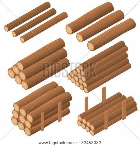Wooden logs in the isometric. Brown bark of felled dry wood. Procurement for construction. Logs for kindling the furnace. Vector illustration.