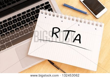 RTA - Real Time Advertising - handwritten text in a notebook on a desk - 3d render illustration.