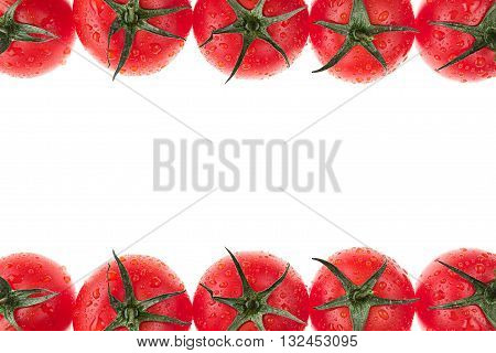 Border of tomato on a white background. Isolated. Tomato pattern. Food background. Macro. Texture.