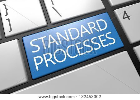 Standard Processes - keyboard 3d render illustration with word on blue key