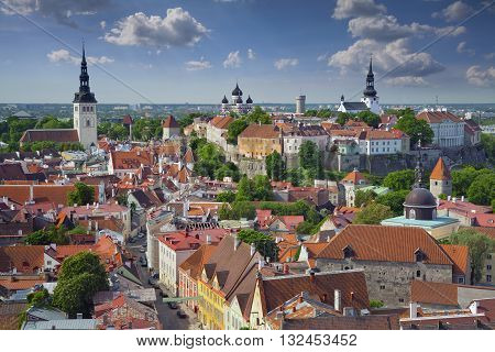 Tallinn. Aerial image of Old Town Tallinn in Estonia.