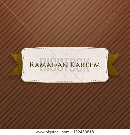 Ramadan Kareem festive Tag with Text and Ribbon. Vector Illustration