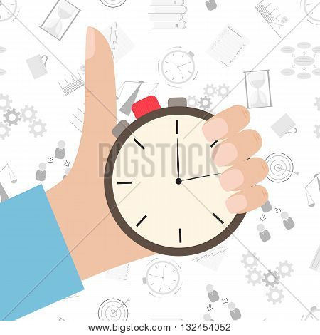 Stopwatch in hand icon. Flat style. The countdown clockwise. The leader of the company. Time management background. Stopwatch vector isolated. Vector illustration.