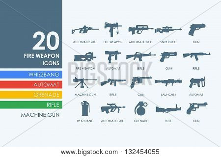 firearms vector set of modern simple icons