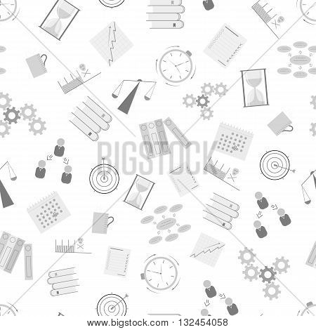 Time Management seamless pattern. Flat icons. Business background. How to achieve success in business. Design icons for your business. Vector illustration.
