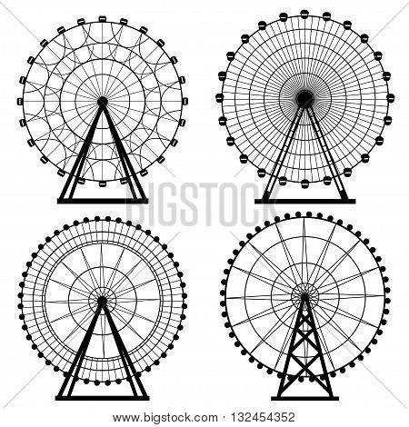 Ferris wheel silhouette, circle. Carnival. Funfair background.Carousel, motion. Vector illustration.