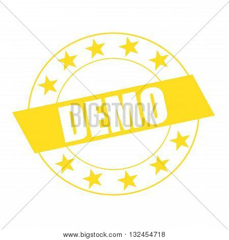 DEMO white wording on yellow Rectangle and Circle yellow stars