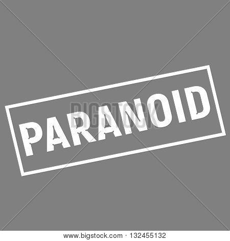 PARANOID white wording on rectangle gray background