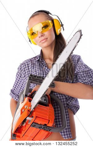 The young woman with a chainsaw on a white background.