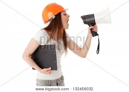 Young female construction superintendent with megaphone and clipboard on a white background.