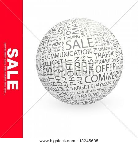 SALE. Word collage. Globe with different association terms.