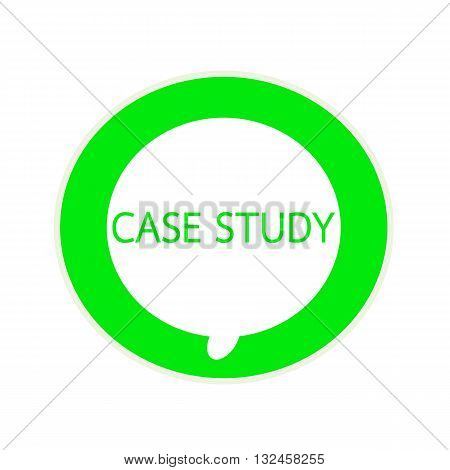 Case study green wording on Circular white speech bubble