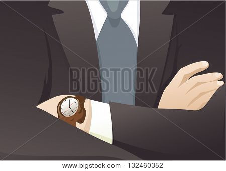 Businessman with crossed hands - vector illustration
