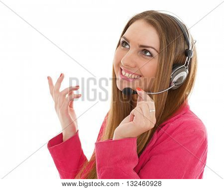 Happy young business woman with headset on a white background. Operator of support service.