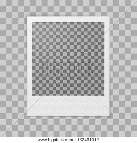 Retro photo frame. Transparent background. Photo realistic vector illustration.