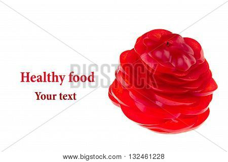 Figure from sliced paprika. The figure rose. Concept art. Isolated. Food background.