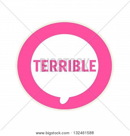 Terrible pink wording on Circular white speech bubble