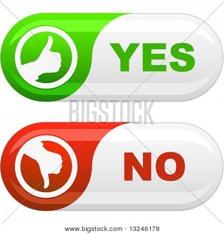 Yes and No button. Vector illustration.