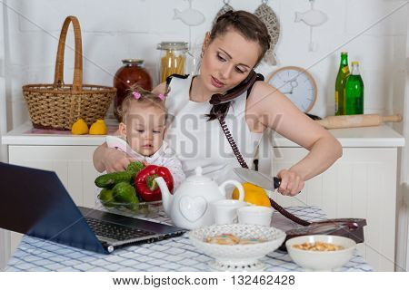 Young mother  with   little child sit at the dining table in the home kitchen.