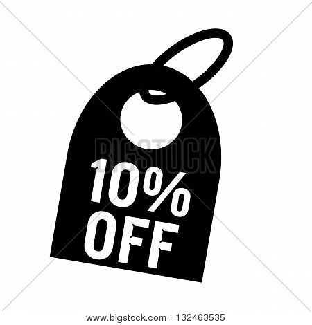 10% OFF white wording on background black key chain