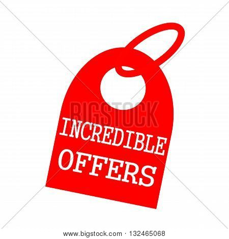 INCREDIBLE OFFERS white wording on background red key chain