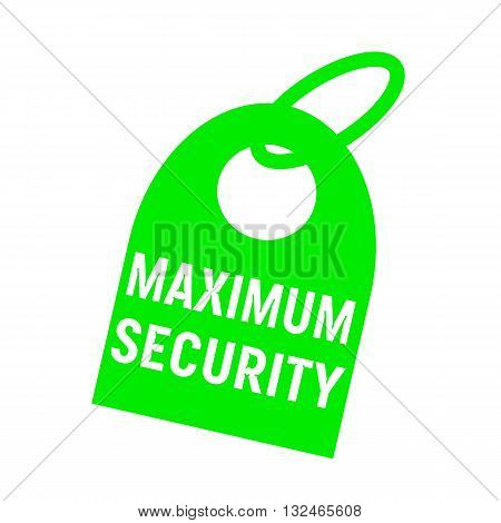 maximum security white wording on background red key chain