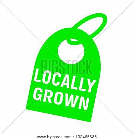 locally grown white wording on background red key chain