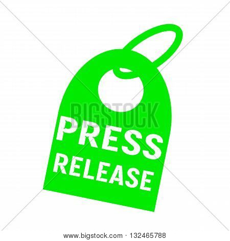 press release white wording on background green key chain