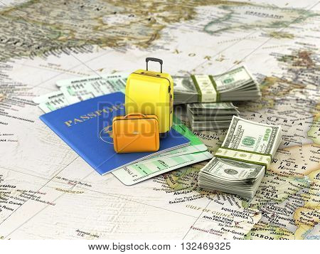 Travel or tourism concept. Passport suitcases tickets and money on the world map. 3d illustration