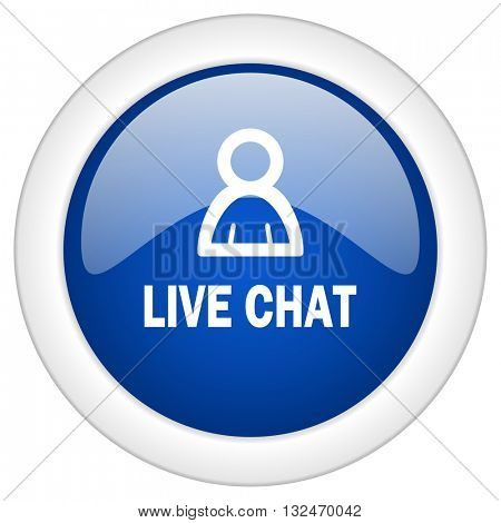 live chat icon, circle blue glossy internet button, web and mobile app illustration