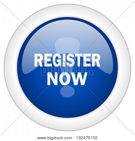 register now icon, circle blue glossy internet button, web and mobile app illustration
