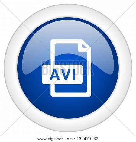 avi file icon, circle blue glossy internet button, web and mobile app illustration