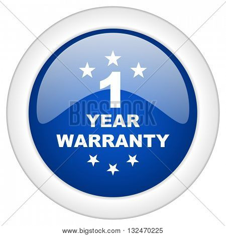 warranty guarantee 1 year icon, circle blue glossy internet button, web and mobile app illustration