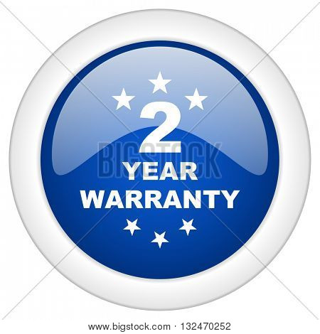 warranty guarantee 2 year icon, circle blue glossy internet button, web and mobile app illustration