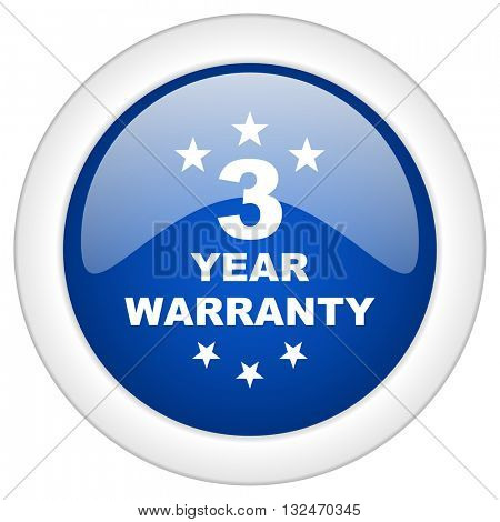 warranty guarantee 3 year icon, circle blue glossy internet button, web and mobile app illustration