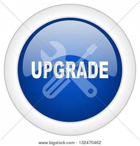 upgrade icon, circle blue glossy internet button, web and mobile app illustration