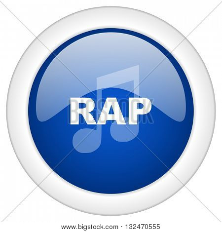 rap music icon, circle blue glossy internet button, web and mobile app illustration