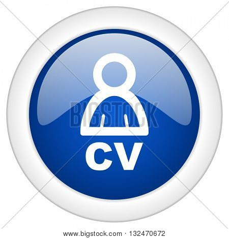cv icon, circle blue glossy internet button, web and mobile app illustration