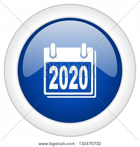 new year 2020 icon, circle blue glossy internet button, web and mobile app illustration