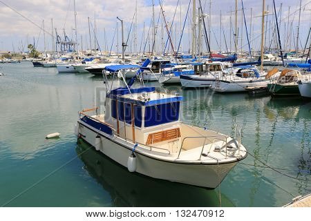 boat and yachts in sea moorage