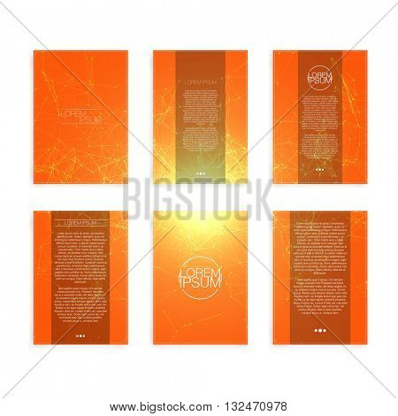 Set of Orange and Yellow Abstract Mesh Modern Flyers - EPS10 Brochure Design Templates