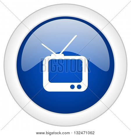 tv icon, circle blue glossy internet button, web and mobile app illustration
