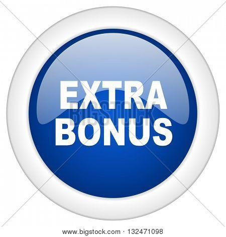 extra bonus icon, circle blue glossy internet button, web and mobile app illustration