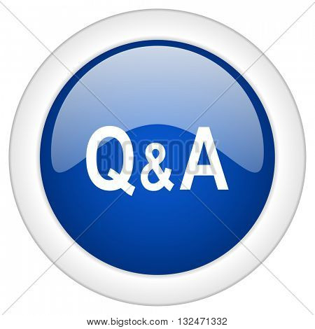 question answer icon, circle blue glossy internet button, web and mobile app illustration